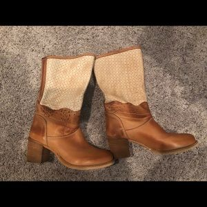 Anthropologie tan perforated top  Vera gomma boot